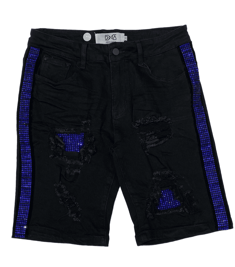 DNA Men Side Stones Jeans Shorts Black & Blue - BLVD