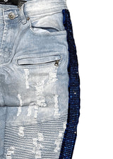 Focus Men Light Wash Jeans With Blue Side Stones - BLVD