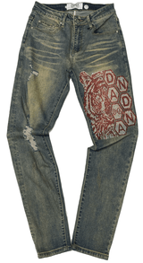 DNA Men Tiger Red Stones Jeans - BLVD