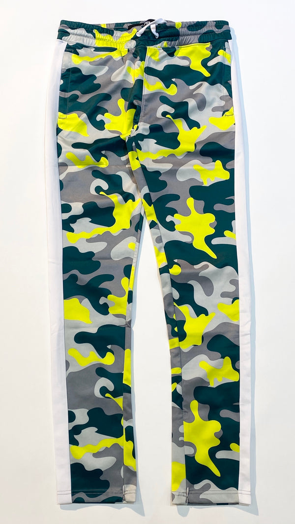 Camo Grey Lime Green Track Pants - BLVD