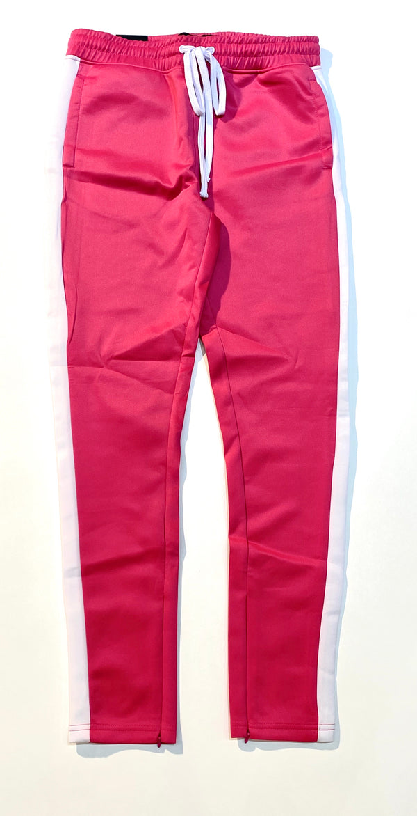 Fushia & White Track Pants - BLVD