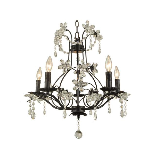 valentina chandelier shown in black finish without shades with clear crystal flowers