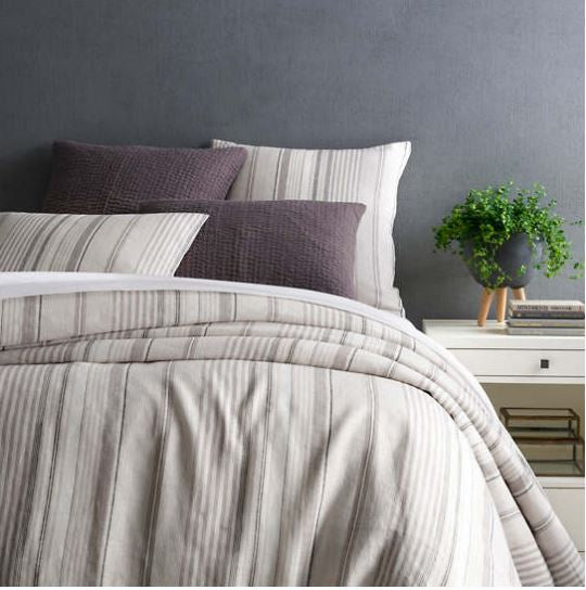 stone linen duvet with neutral stripes vertically