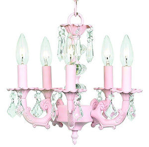 coco five arm chandelier shown in light pink dressed with clear crystals