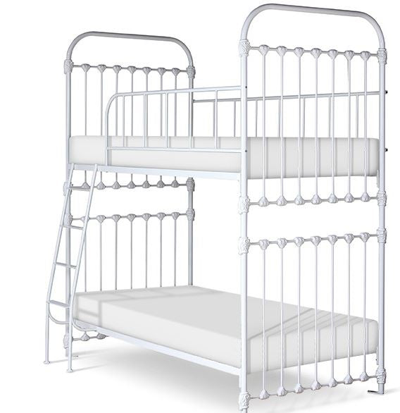 matilda bunk bed shown in white gloss with classic style twin over twin with ladder on the left
