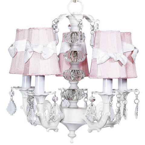 addison five arm chandelier in white with pink shades with white sashes with clear crystals