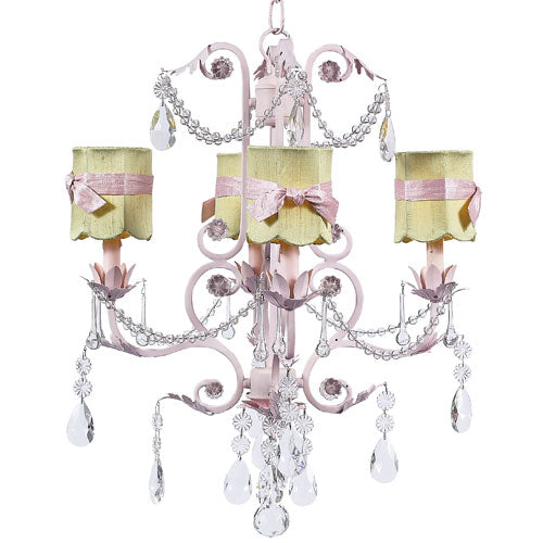 libbie chandelier shown in pink with green drum shades with pink sashes with clear crystal accents