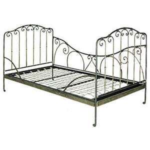 stella iron daybed shown without bedding in antique pewter featuring an iron scroll design