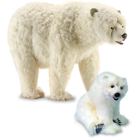 sully polar bear and cub shown with cream polar bear standing on all fours with white cub sitting up