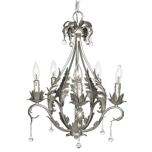 pamela chandelier is a five arm chandelier in a pewter finish