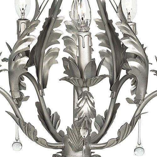 middle of pamela chandelier shown with leaves embracing lights in pewter finish