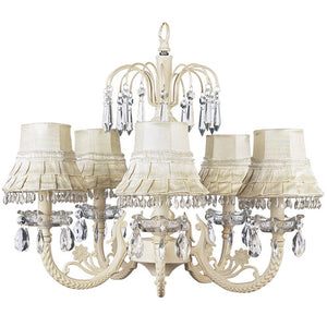ariana five arm chandelier in ivory with ivory shades and clear crystals on top and bottom with smaller crystals around ivory shades