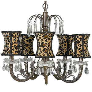 roxy chandelier is a five light fixture with a mocha finish with tear drop clear crystals with leopard shades