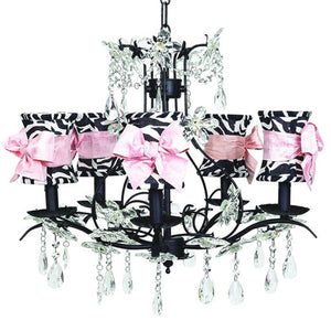 valentina chandelier shown with five lights draped with clear crystals with zebra shades with pink bows