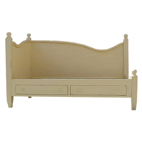 theodore day bed shown in solid pine painted in white linen with two drawers