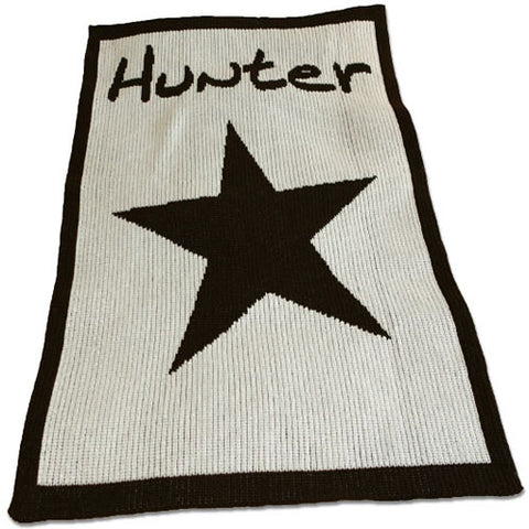 "hunter personalized blanket shown in white cashmere with chocolate star personalized with Hunter"" in chocolate with matching border"
