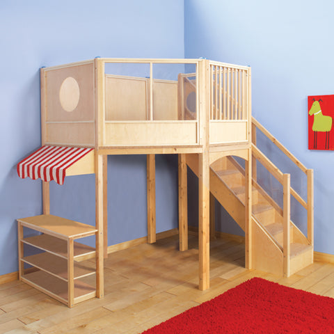 super market play area is shown with red and white awning on left with carpeted stairs and loft area in birch construction showing acrylic panels in the loft