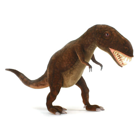 travis t-rex posed upright with mouth open showing a mouth full of sharp teeth shown in a green brown olive plush