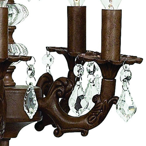 close up of coco chandelier showing mocha finish and clear crystals