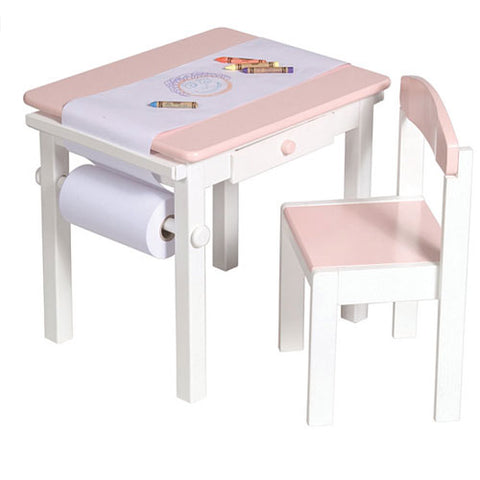 sadie table set in pink and white showing paper with crayons on top with pink and white chair