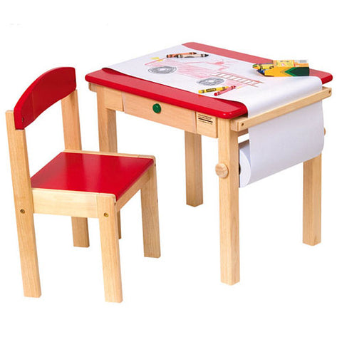 adorable red and natural art table and chair showing crayons and roll of paper where child has drawn fire truck accented with green knob on storage drawer