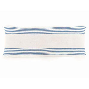 charlie blue and white stripe with blue stripes shown on top and bottom of  bolster pillow