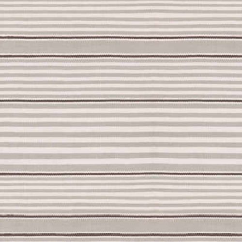 close up of wilson stripe rug showing horizontal stripe in silver and ivory