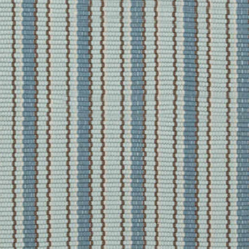 close up of light blue and blue vertical stripe crew rug