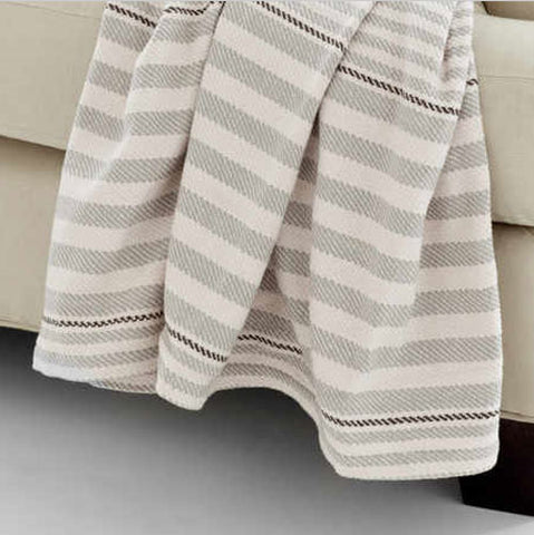 marley throw showing horizontal stripe in silver and white