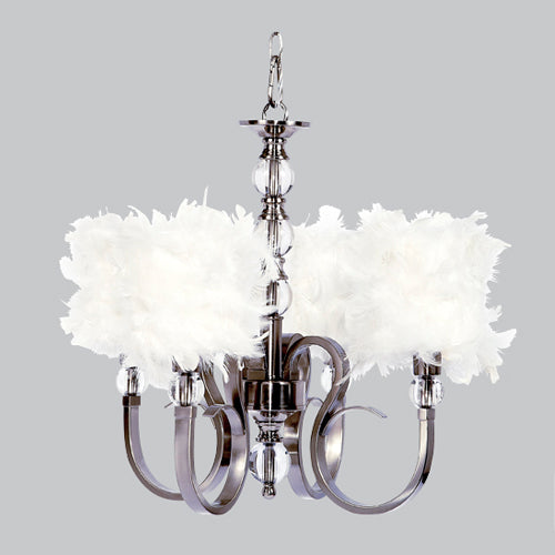 kelsie chandelier in metallic silver with curved arms with white feather shades
