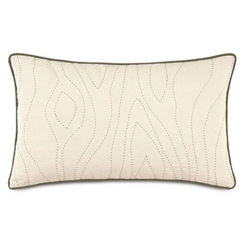 accent pillow in cream with dark stitching mimicking wood grain