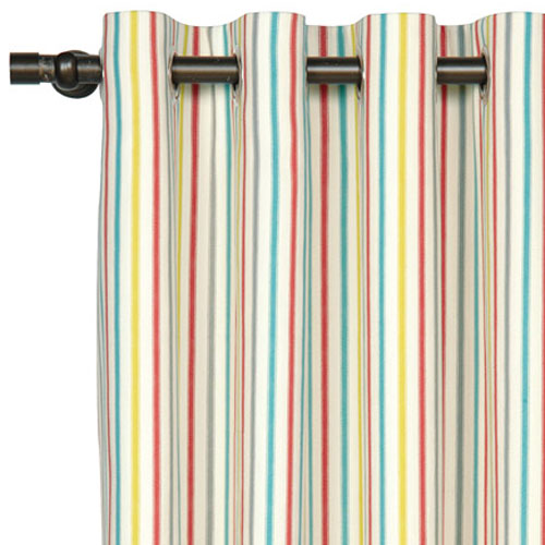 ashylnn stripe curtains shown with red, blue, yellow and white with grommets