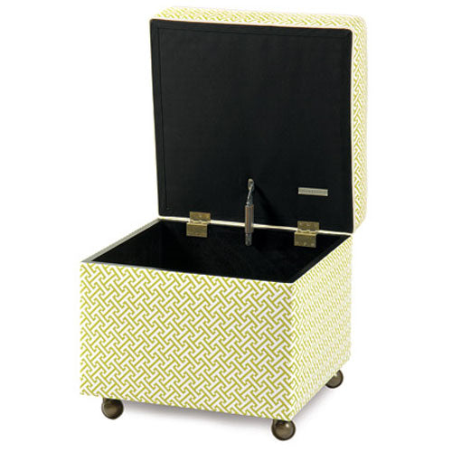 ashlynn storage ottoman shown in green and white lattice pattern shown with top open with casters on bottom