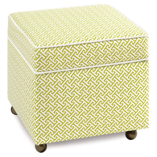 ashlynn storage cube ottoman shown in green and white lattice pattern with casters