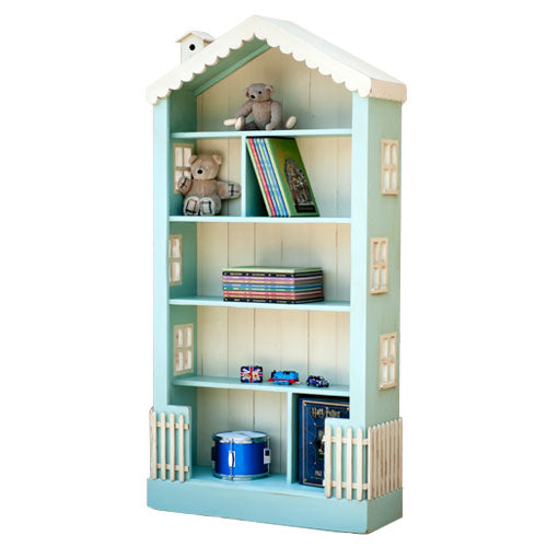 olivia bookcase shown in blue with cream beadboard with cream windows and scalloped roof trim and birdhouse
