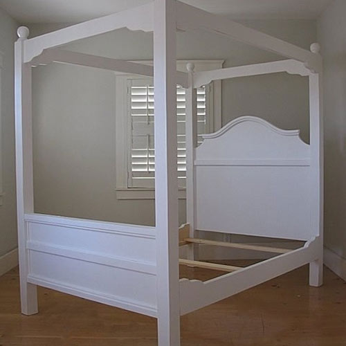 clover classic canopy bed shown in white linen