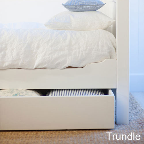 clover trundle option shown in white linen