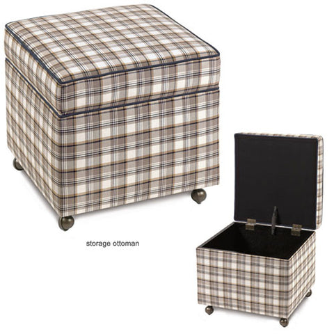 seaside storage ottoman offers a neutral plaid on a cube square ottoman with a top that lifts up to store items inside