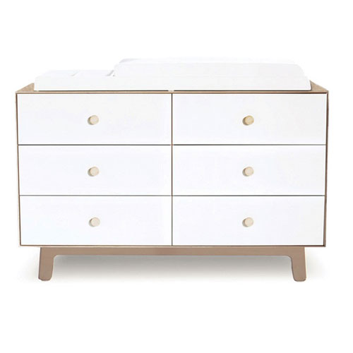 marshall dresser shown in white and birch finish with six drawers