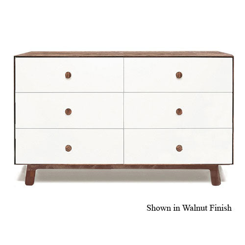 marshall dresser shown with six drawers in walnut and white combination