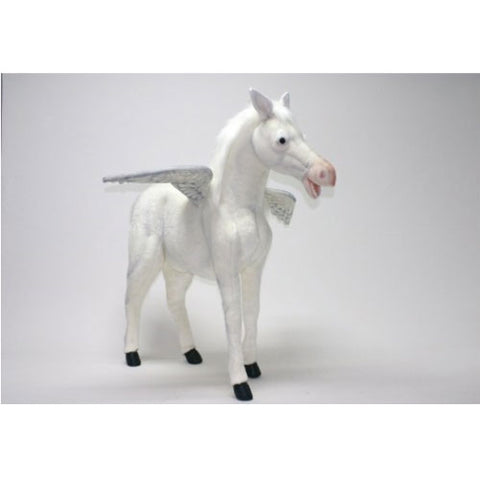 peggie the pegasus is shown in white with black hooves with silver wings with a blush pink nose and white ears