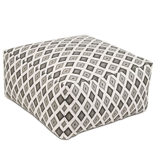 dimaond patterned pouf is shown in grays and blacks set on a white background