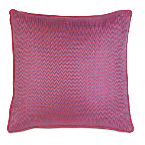 chevron fuscia pillow showing a tiny herringbone pattern with slightly darker fuscia welting