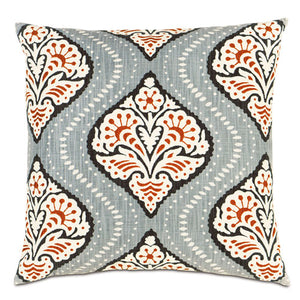 bali accent pillow shown with medallion pattern with gray background with tangerine medallion trimmed with navy