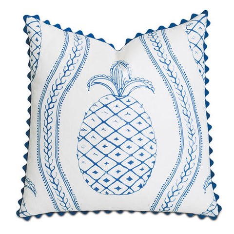 sunshine blue pillow with blue pineapple centered on white background with ric rac blue trim