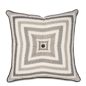 baxter pillow features squares in taupes and grays with charcoal piping and center button set on a white background