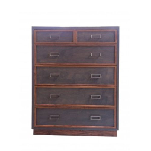 carter tall chest has six drawers shown in dark gray with caramel trim around drawer fronts with rectangle satin drawer pulls