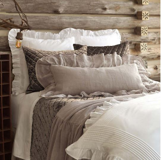 luna ruffle sheet set shown in white on taupe linen bedding set in bedroom