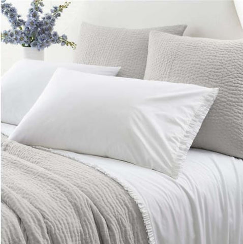 tayloe sheet set shown in white with small ruffle at top hem and on pillow cases