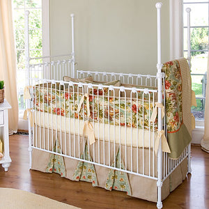 kennedy iron four poster crib white showing floral and linen crib bedding
